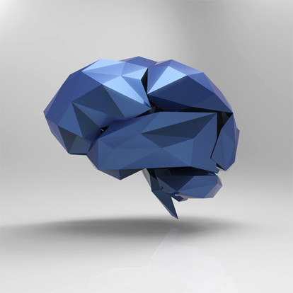 image of origami brain in blue